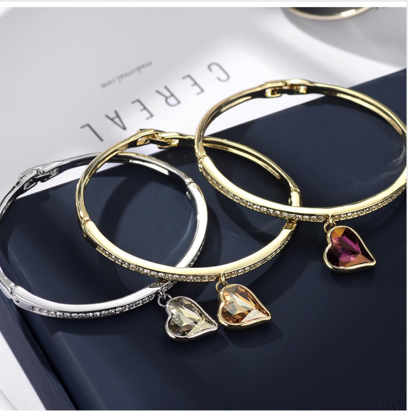 Set náhrdelník a náramok Srdce Swarovski elements žltá  9508b118c0f