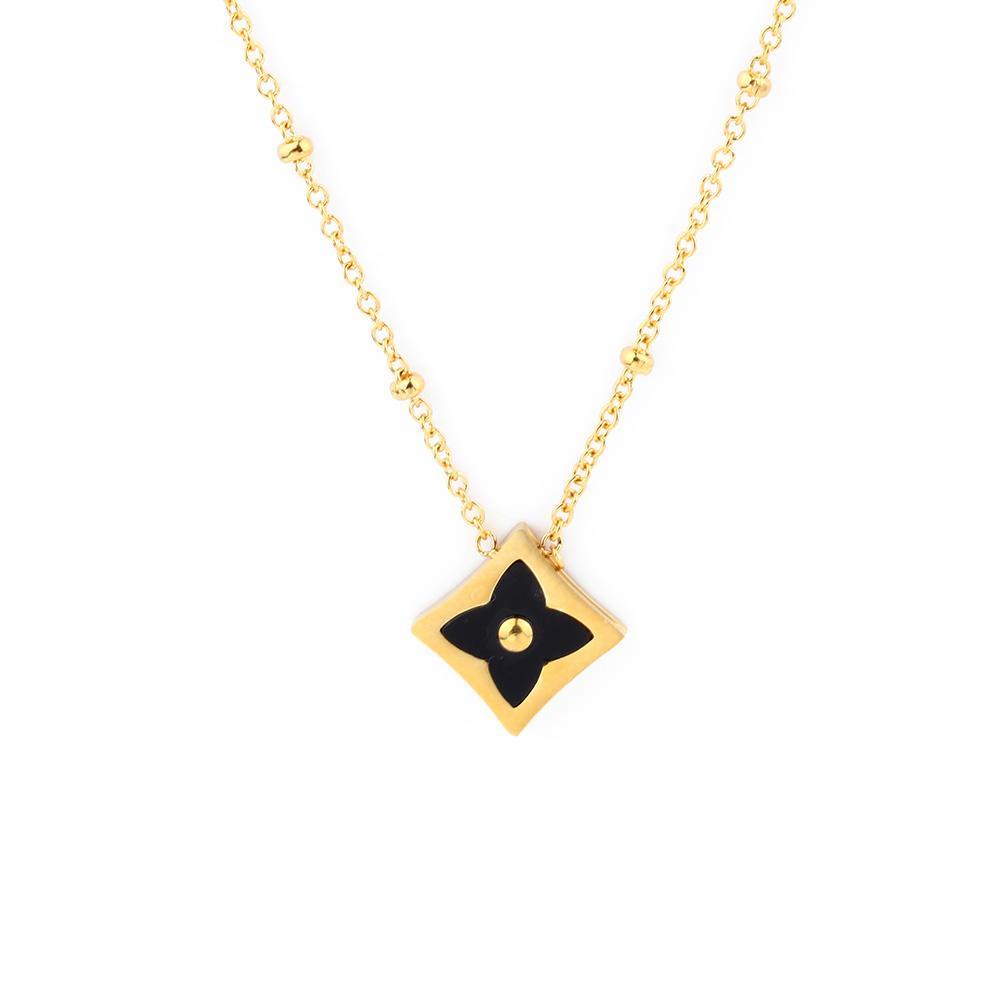 11a54fefb Náhrdelník čierny štvorlístok zlaty | Šperky pre Vás