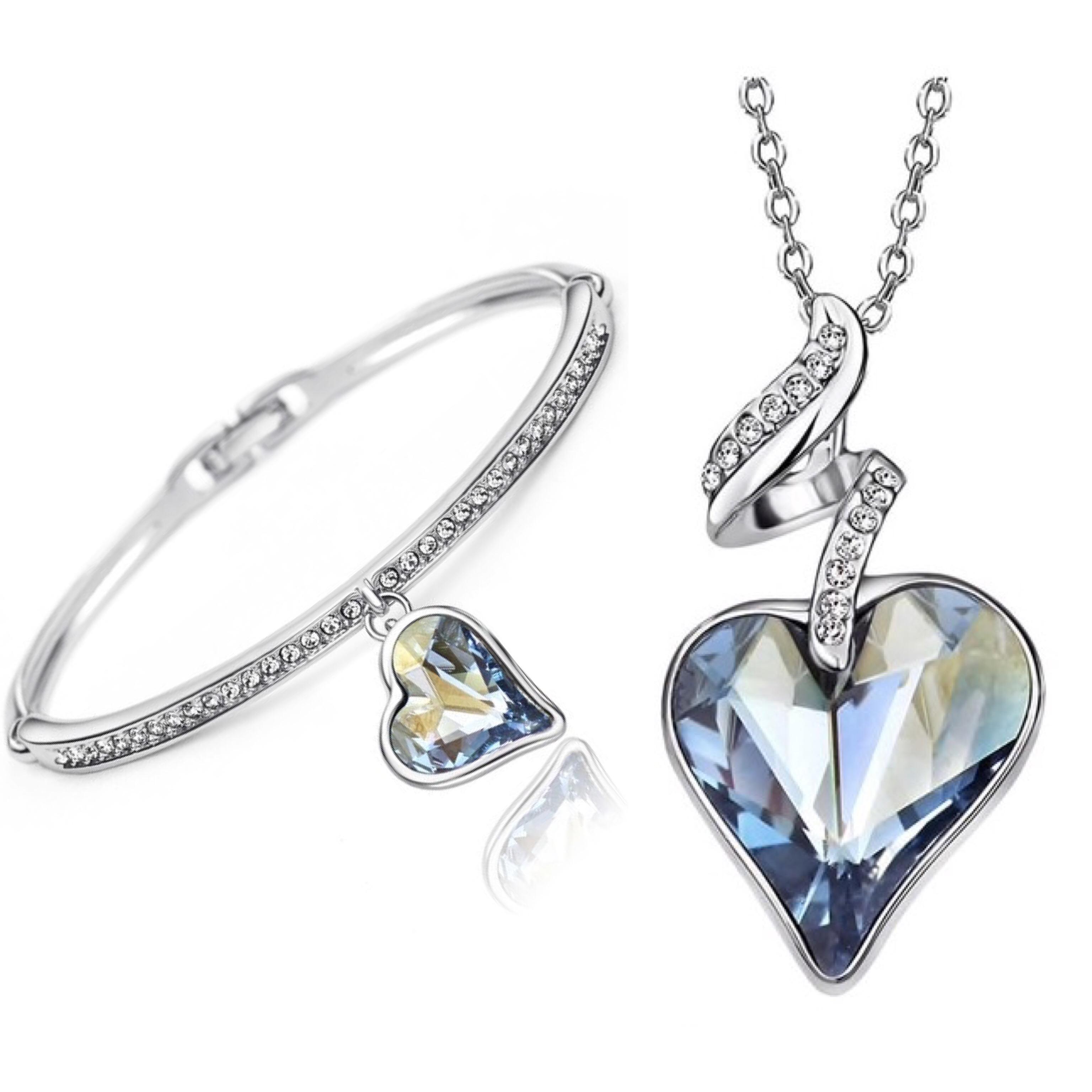 Set náhrdelník a náramok Srdce Swarovski elements modrá  d71c6315805