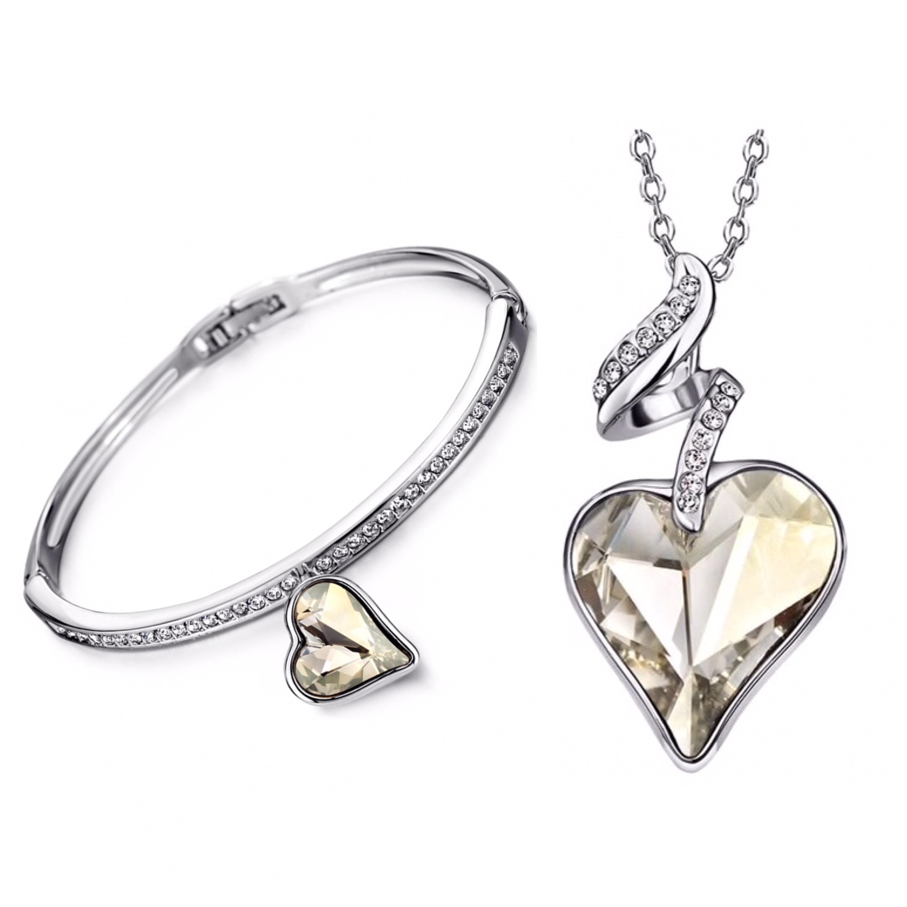 Set náhrdelník a náramok Srdce Swarovski elements biela  6c23c834922