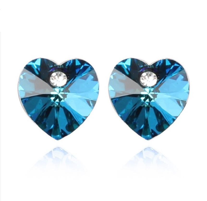 Náušnice srdiečko Swarovski element bermuda blue  5908008e67f