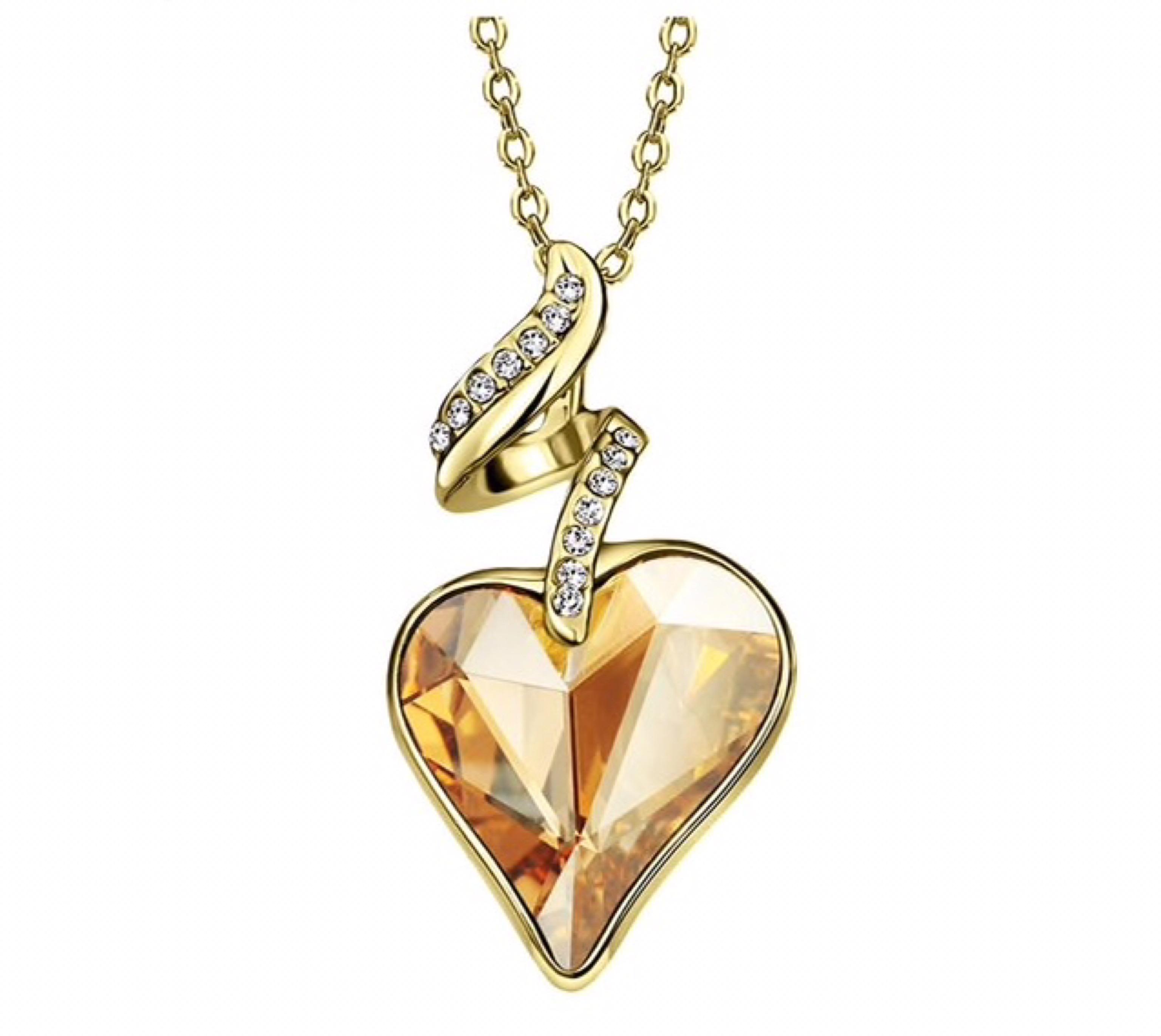 Náhrdelník srdce Swarovski elements žltá  bc8cd6399f1