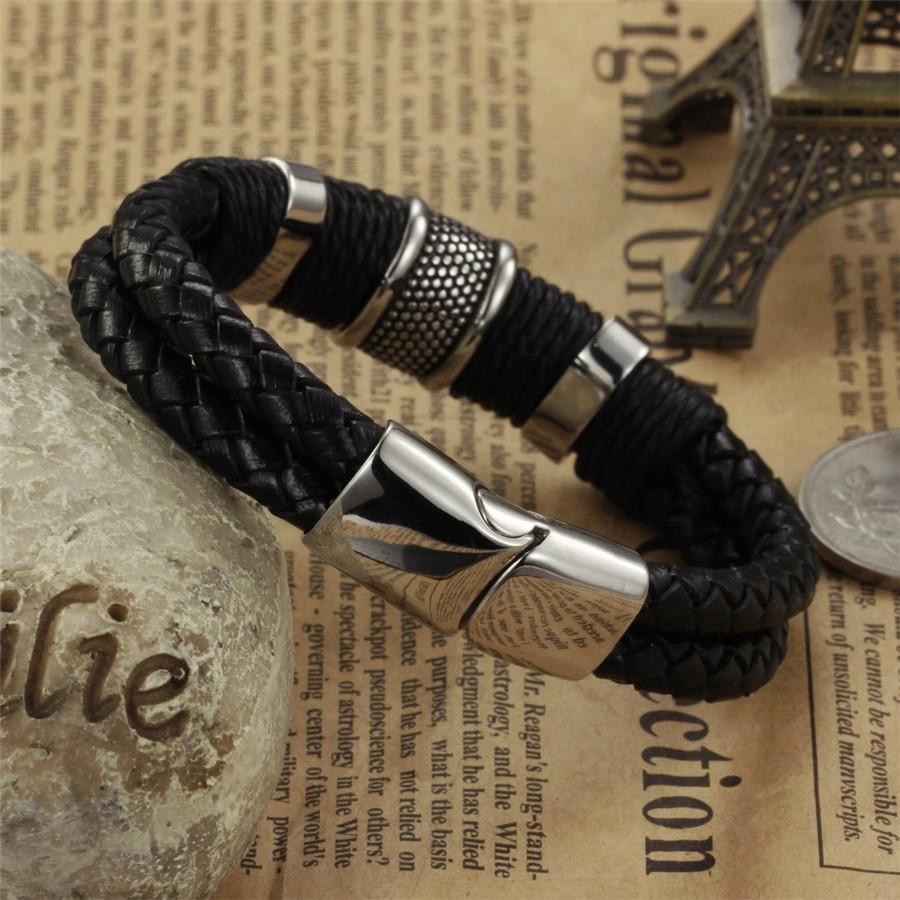 5f4684c33 Pánsky športový kožený náramok Cool man čierny | Šperky pre Vás