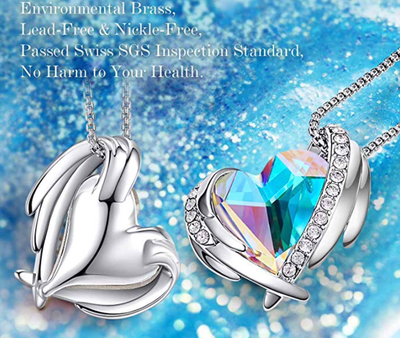 Set Silver Angel Swarovski elements aurora borealis