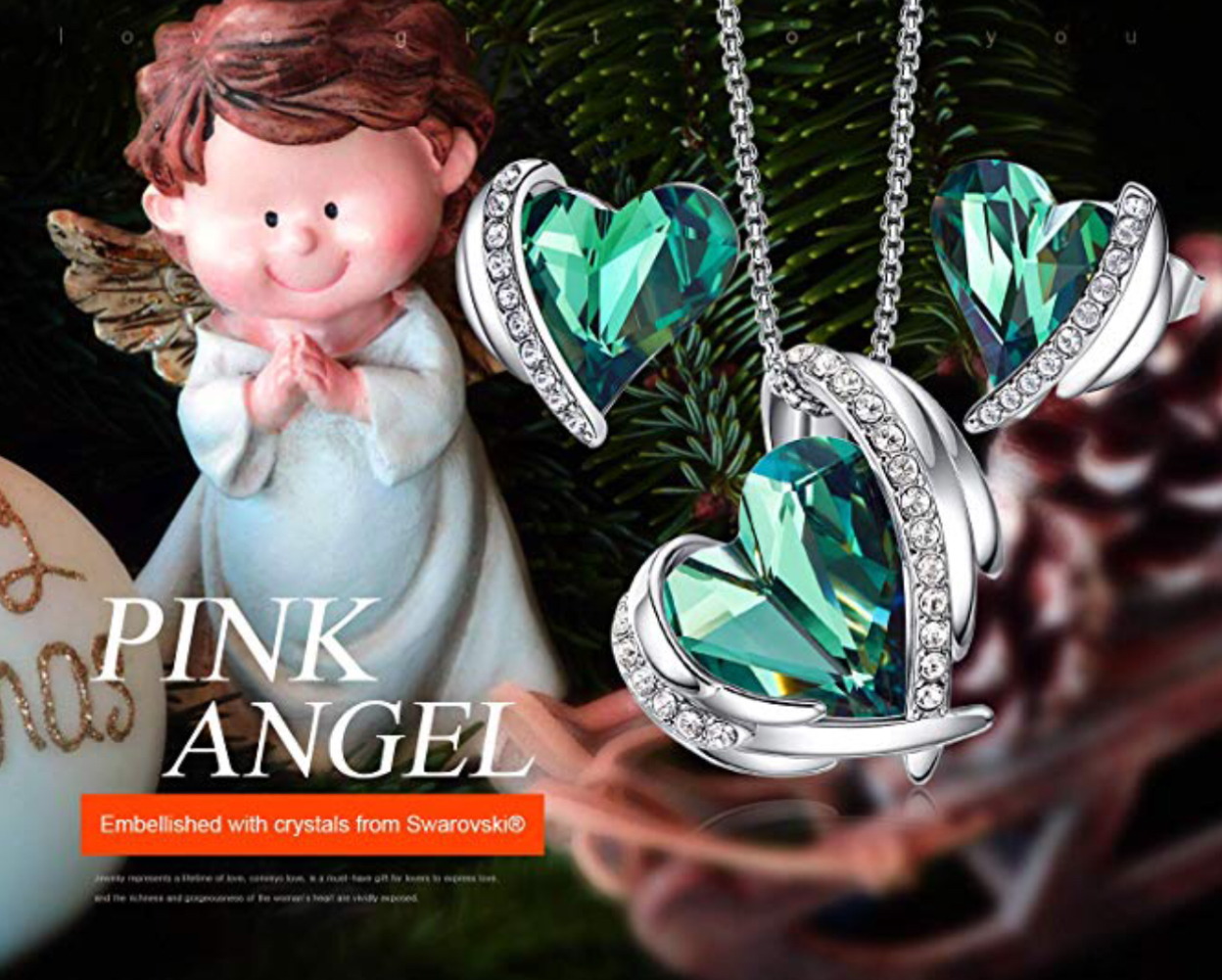 Set Silver Angel Swarovski elements green