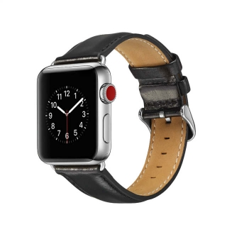 Apple watch kožený remienok čierny (42/44mm)