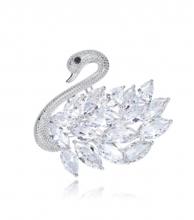 Brošňa Swan bright crystal Swarovski elements