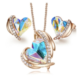 Set Gold Angel Swarovski elements aurora borealis
